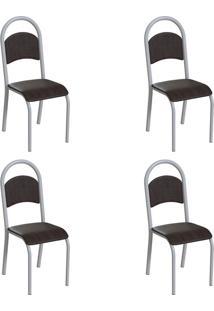 Conjunto Com 4 Cadeiras Wodon Tabaco E Branco