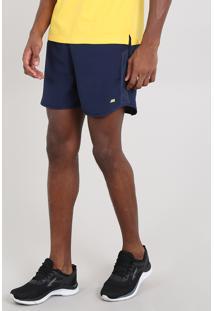 Short Masculino Esportivo Ace Com Recortes Azul Marinho