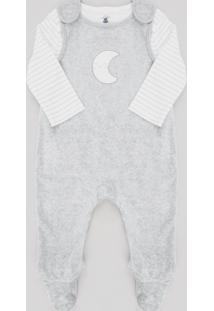 Conjunto Infantil De Camiseta Listrada Manga Longa Off White + Macacão Lua Em Plush Sem Manga Cinza Mescla