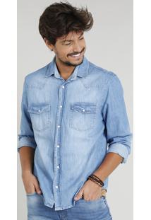 Camisa Jeans Masculina Com Recortes Manga Longa Gola Esporte Azul Claro