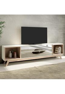 Rack Para Tv 2 Gavetas Espelhadas 220 Cm R422 Wn2 Off White/Natural - Dalla Costa