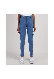 Calça Jeans Feminina Sawary Jogger Cintura Super Alta Cargo Azul Médio
