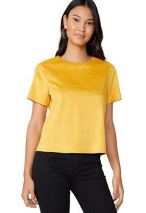 Amaro Feminino Camiseta Manga Curta Suede, Amarelo