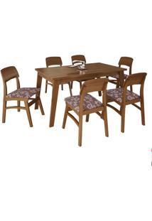 Mesa Up 150Cm Imbuia Com 6 Cadeiras Up Tecido Floral Marrom