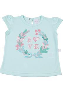 Camiseta Manga Curta Gentle Silk Love Ano Zero Turquesa