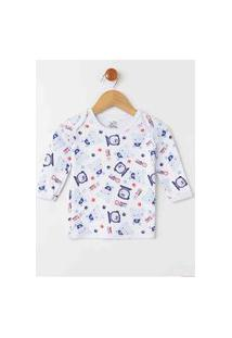 Pijama Estampado Infantil Para Bebê Menino - Branco/Azul