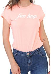 Camiseta Coca-Cola Jeans Free Hughs Neon Laranja