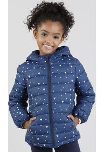 Jaqueta Infantil Puffer Estampada De Corações Com Capuz Azul Marinho
