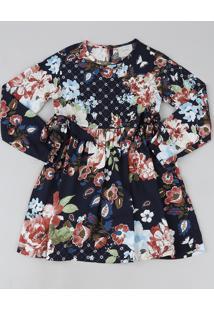 Vestido Infantil Estampado Floral Tal Mãe Tal Filha Manga Longa Azul Marinho