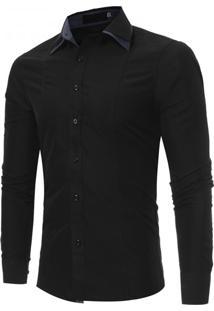 Camisa Masculina Slim Fit Cotoveleira Manga Longa - Preto P