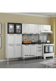 Cozinha Compacta 3 Peças Sem Balcão 2 Portas De Vidro Tarsila Itatiaia Branco/Preto