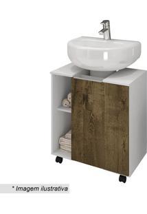 Gabinete Para Banheiro Pequin- Branco & Madeira Rãºstica