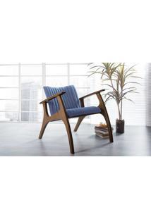 Poltrona Decorativa Para Sala Estofada Smith Matelassê Cor Azul Claro - Verniz Capuccino - 69X83X74 Cm