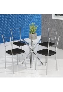 Conjunto De Mesa De Cozinha Com Tampo De Vidro Gia Ii E 4 Cadeiras Preto