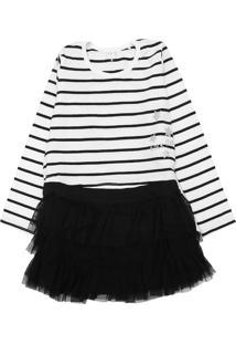 Vestido Tip Top Infantil Listras Branco/Preto