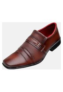 Sapato Social Bico Quadrado Estilo Shoes Db833 Moderno Marrom