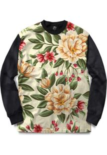 Blusa Bsc Beautiful Flowers Full Print - Masculino-Preto