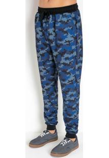 Calça Camuflada Azul Com Bolsos Funcionais