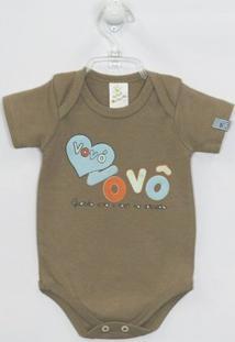 Body Bebê Manga Curta Vovó E Vovô - Masculino-Cáqui