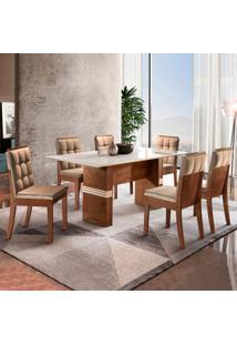 Conjunto De Mesa De Jantar Com 6 Cadeiras Vermont Ll Suede Off White E Bege