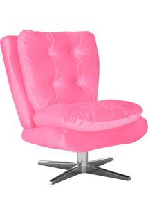 Poltrona Decorativa Tolucci Suede Rosa Barbie Com Base Giratória Em Aço Cromado - D'Rossi