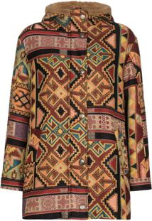 Etro Aztec-Pattern Shearling Jacket - Marrom