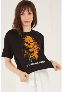 Camiseta Chewbacca Com Inscriã§Ãµes - Preta & Laranjapop Up