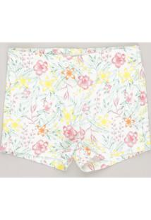 Short Infantil Estampado Floral Off White