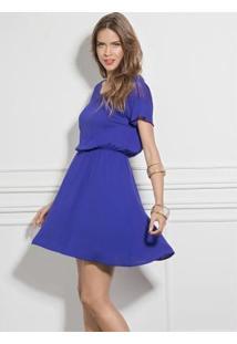 Vestido Quintess Com Leve Transparência Azul