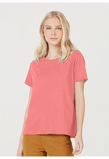 Camiseta Hering Básica Manga Curta Em Algodão Pima Rosa