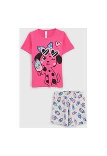 Pijama Malwee Liberta Curto Infantil Cachorrinho Rosa/Cinza