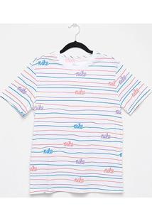 Camiseta Nike Manga Curta Boyfriend Logo Feminina - Feminino-Branco