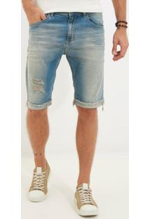 Bermuda Clássica Clearwater 3D Jeans Azul Masculina (Jeans Medio, 0)