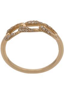 Astley Clarke Anel Vela Mini De Ouro Rosé 14K Com Diamante - Dourado