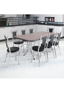 Conjunto De Mesa De Cozinha Com 8 Lugares Sines Corino Marrom E Preto