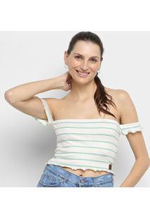 Cropped Ombro A Ombro Hang Loose Stripe Linen - Feminino-Verde