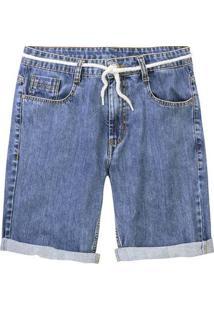 Bermuda Jeans Masculina Tradicional Com Cadarço