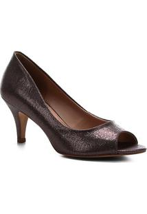 Peep Toe Shoestock Noiva Tecido Cristais - Feminino-Prata