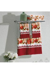 Jogo De Toalhas Com 2 Para Banho E 2 Para Rosto Flora Vermelho
