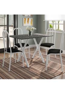 Conjunto De Mesa Miame 110 Cm Com 4 Cadeiras Madri Branco E Preto Liso