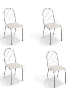 Conjunto Com 4 Cadeiras De Cozinha Noruega Cromado E Branco