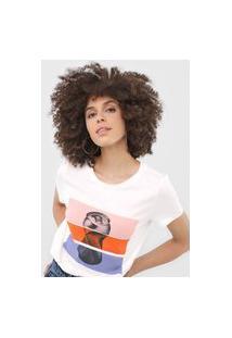 Camiseta Vero Moda Listras Off-White