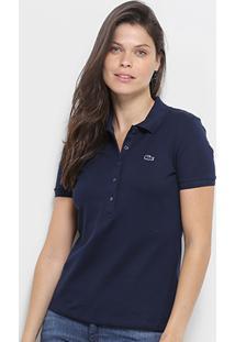 157b2777db5 Camisa Polo Lacoste Piquet Manga Curta Feminina - Feminino-Marinho