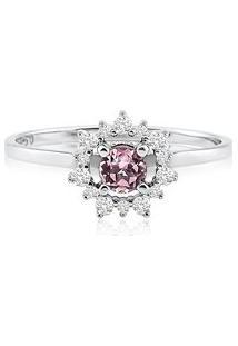 Anel Ouro Branco Turmalina Rosa E Diamantes