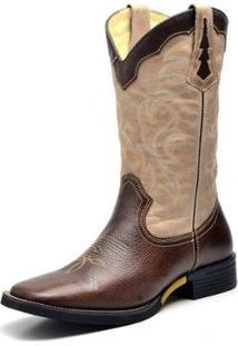 Bota Couro Country Texana Top Franca Shoes Fossil Masculino - Masculino-Café