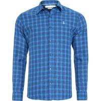 41158b1a3 Camisa Masculina Quadros Linho - Azul