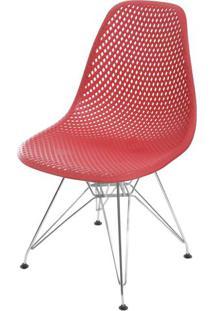 Cadeira Eames Furadinha Cor Vermelho Com Base Cromada - 55988 - Sun House