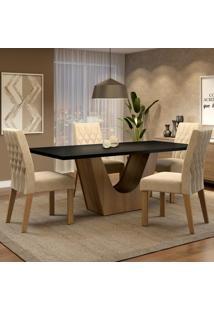 Conjunto Sala De Jantar Madesa Raissa Mesa Tampo De Madeira Com 4 Cadeiras Marrom