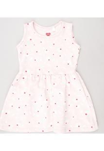 Vestido Infantil Estampado Floral Sem Manga Rosa Claro