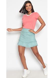 Camiseta Poã¡ Com Bordado- Coral & Brancaus Polo